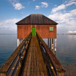 Bath house with wooden footbridge V1 — Stockfoto