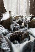 Stream running through the winter landscape — Stock Photo