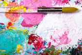 Color palette with brush — Stock Photo
