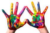 Dwa kolorowe ręce tworząc v2 serca — Zdjęcie stockowe