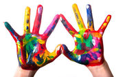 Two colorful hands forming a heart V2 — Stok fotoğraf