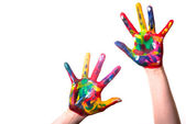 Two colorful hands with Copy Space — Stock Photo