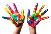 Two colorful hands V1 — Stockfoto