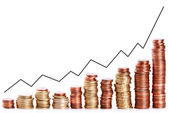 Coin piles climbing up with rate — Stock Photo