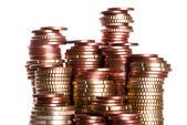 Coin piles — Stock Photo