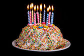 Birthday cake with candles — Stock Photo
