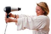 Young woman with hair dryer V1 — Stock Photo
