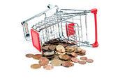 Shopping cart v1 con monedas — Foto de Stock