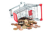 Shopping Cart V1 with coins — Stock Photo