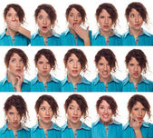 Actor's face, a compilation of emotions — Stock Photo