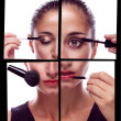 Many hands applying make up on a woman face — Stock Photo #9276095