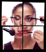 Many hands applying make up on a woman face — Stock Photo
