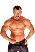 Muscular male bodybuilder on white background — Zdjęcie stockowe