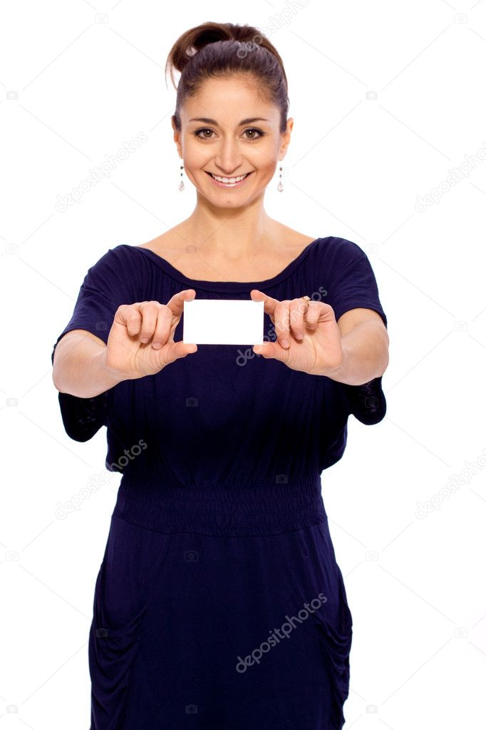 Bright picture of confident woman with business card  — Stock Photo #9651846