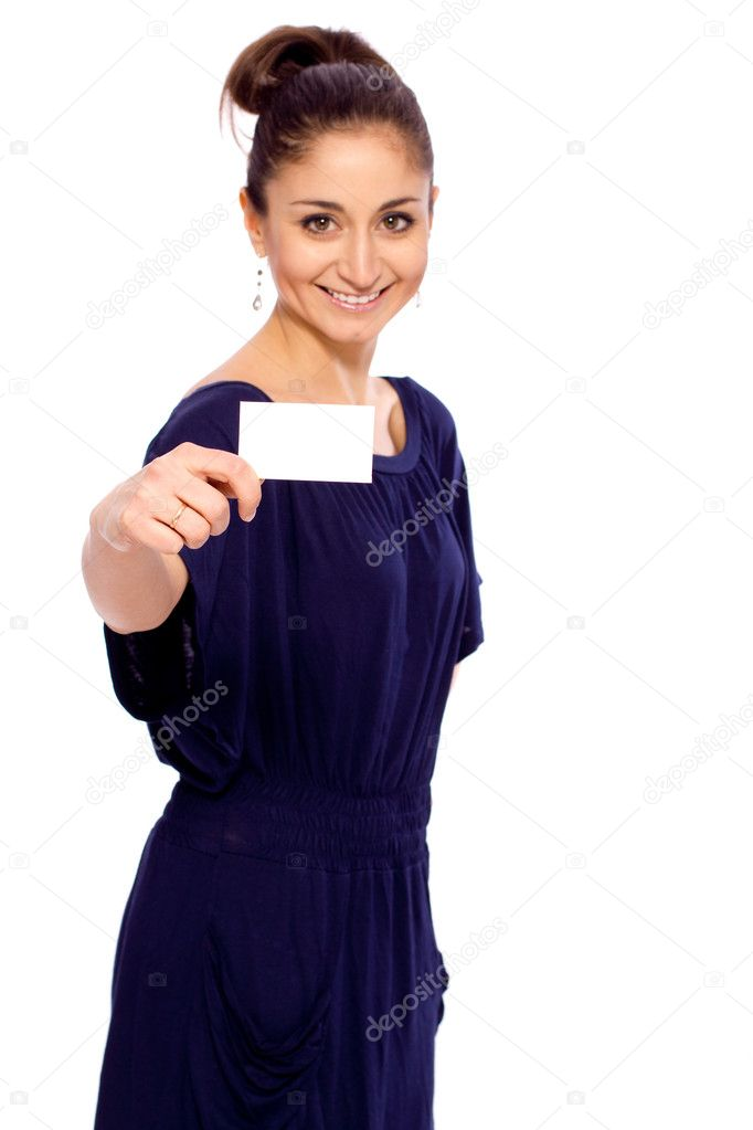 Bright picture of confident woman with business card  — Stock Photo #9651847