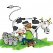 Image of a man milking a cow — Stock Photo