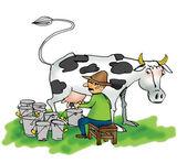 Obraz człowieka dojenie krowy — Zdjęcie stockowe