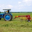 A tractor turning cut hay in a field. — Stock Photo