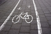 Bicycle Road Sign in the city — Stock Photo