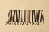 Image of barcode on cardboard — Stock Photo