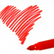 Heart and tred soft-tip pen — Stock Photo