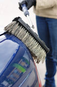 Washing Car with Scrub Brush — Stock Photo