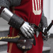 Gloves and weapons of a knight — Foto Stock