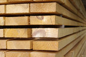 Close up view of stacked wooden boards — Stock Photo