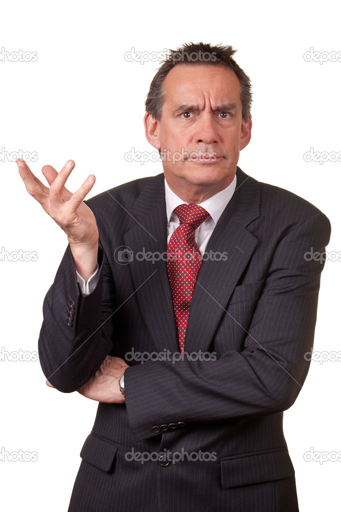Angry Frowning Middle Age Business Man in Suit Raising Hand in Annoyance Isolated — Stock Photo #8789374