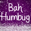 Bah Humbug Christmas Message on Purple Snow Background — Stock Photo #8859554