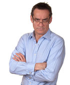 Angry Frowning Business Man in Blue Shirt — Stock Photo