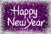 Happy New Year Message on Purple Snow Background — Stock Photo