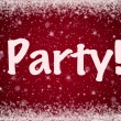 Royalty-Free Stock Photo: Winter Party Invitation on Red Sparkly Snow Background