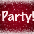 Stock Photo: Winter Party Invitation on Red Sparkly Snow Background