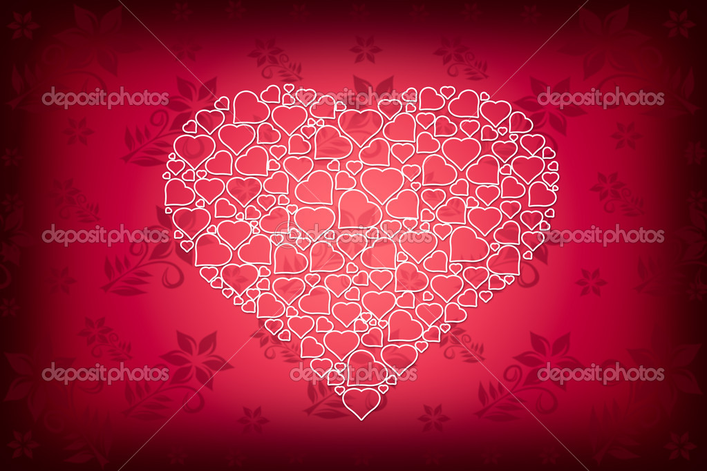 White Heart Design on Red Flower Wallpaper Background — Stock Photo #9009759