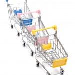 Shopping carts on white — Stock Photo