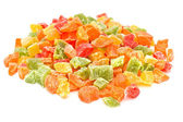 Sweet candied fruits, isolated on white background — Stock Photo