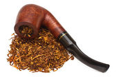 Smoking pipe with tobacco, isolated — Stock Photo