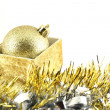 Detail of christmas balls and stars — Stock Photo