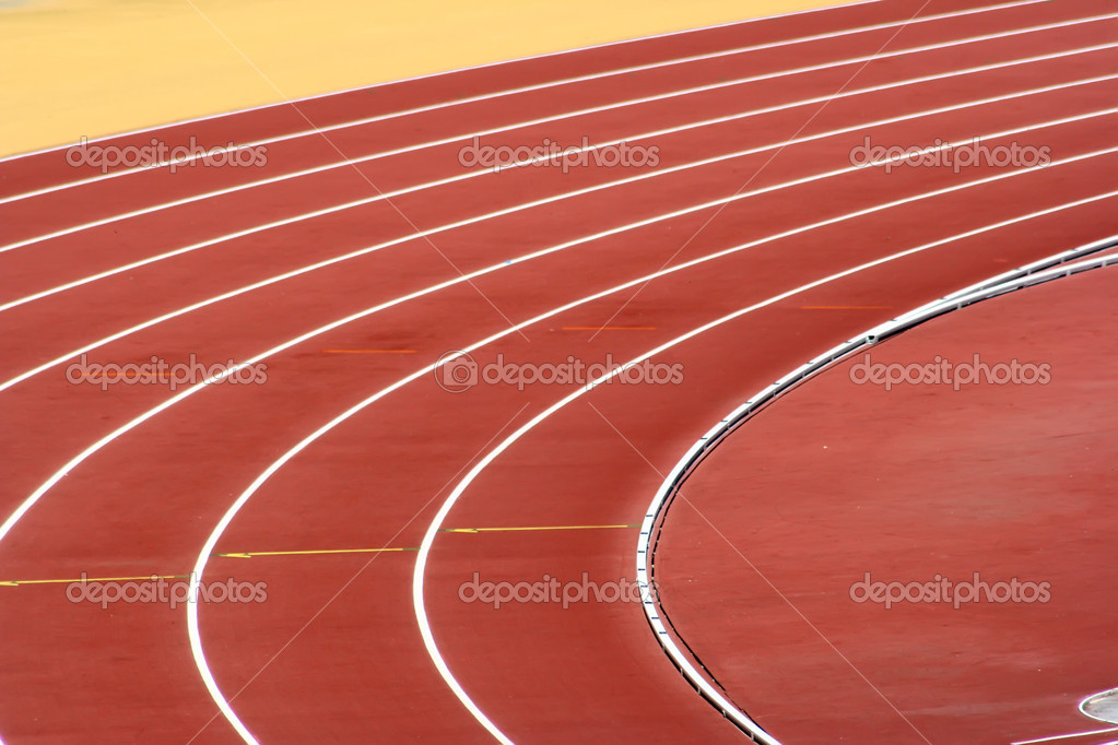 Track Lanes at the turn, white on red  — Stock Photo #8940876