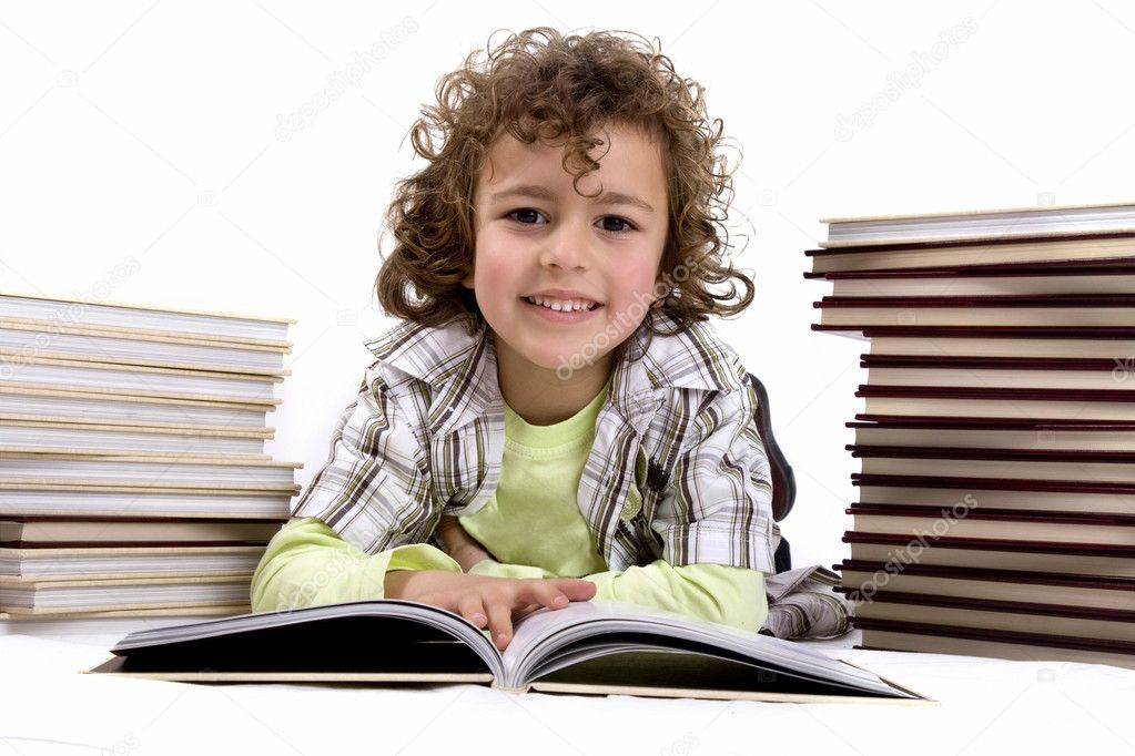 Kid with books — Stock Photo #9509189