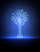 Vector fondo de placa de circuito con árbol electrónica. eps10 — Vector de stock