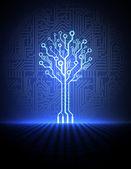 Vector printplaat achtergrond met elektronische boom. eps10 — Stockvector