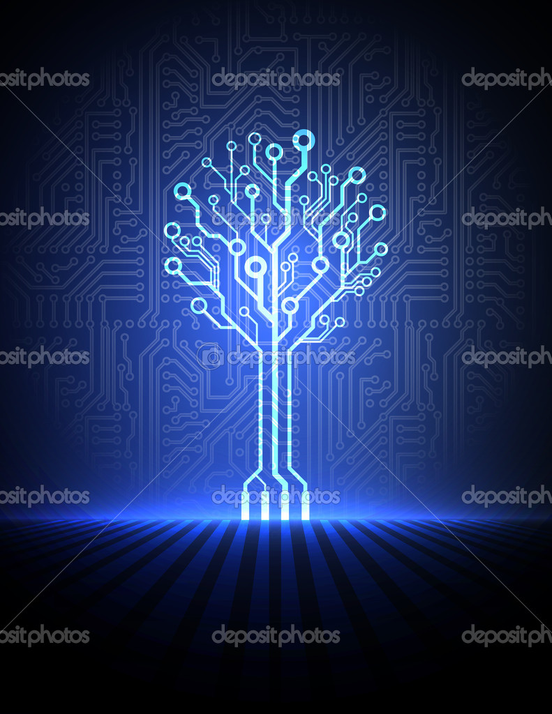 Vector circuit board background with electronic tree.   Stock Vector #9168334