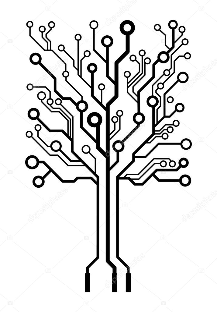 vector square circuit board tree  u2014 stock vector  u00a9 germina