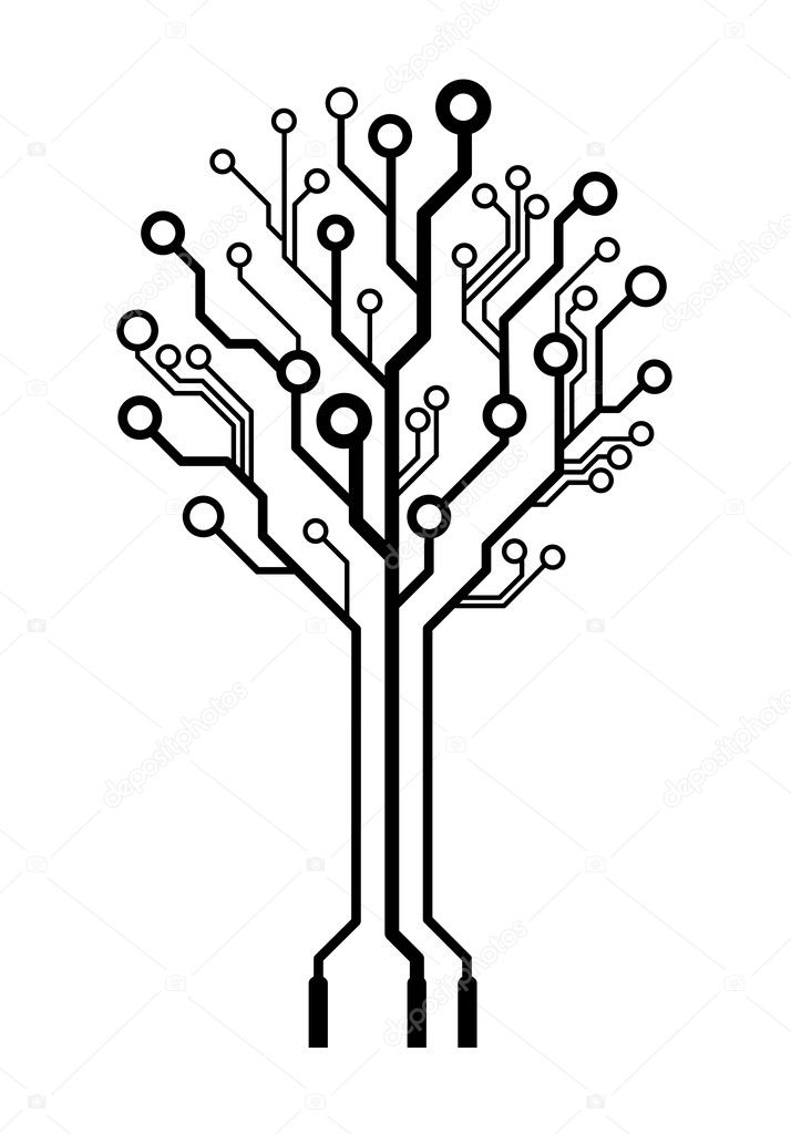 vector circuit board tree  u2014 stock vector  u00a9 germina  9557513
