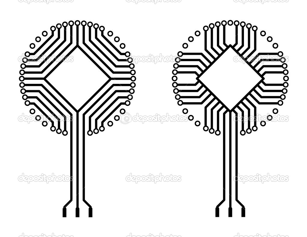 vector logo circuit board tree shapes  u2014 stock vector