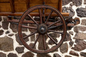 Wheels of old wooden carriage — Stock Photo