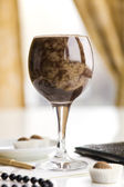The glass of chocolate cocktail — Stock Photo