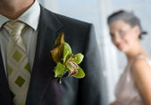 Husband with corsage and Bride behind — Stock Photo